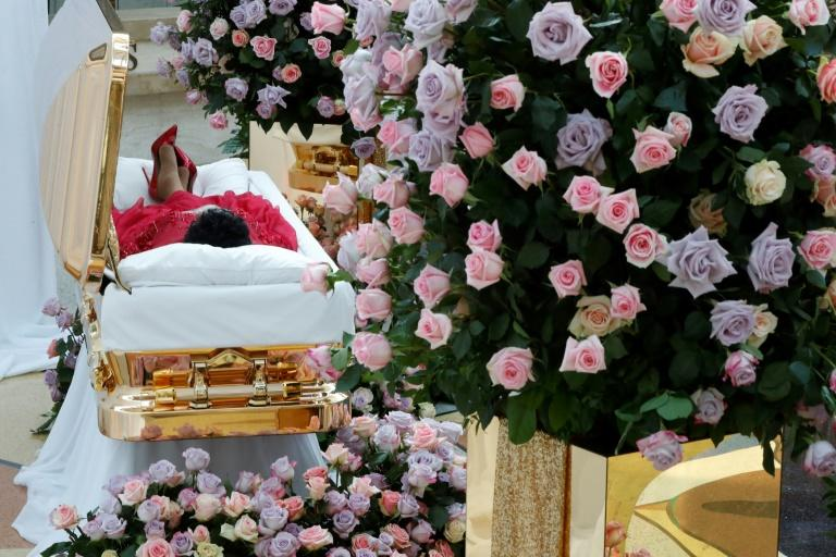 "The ""Queen of Soul"" Aretha Franklin's gold casket was open for viewing at the Charles H. Wright Museum for African American History in Detroit, Michigan"