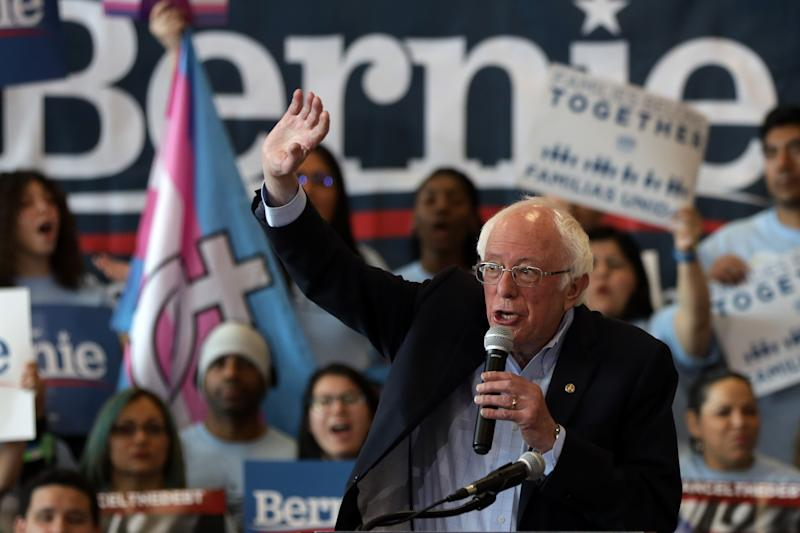 Bernie Sanders at a rally in Las Vegas on Saturday. (Photo by Alex Wong/Getty Images)