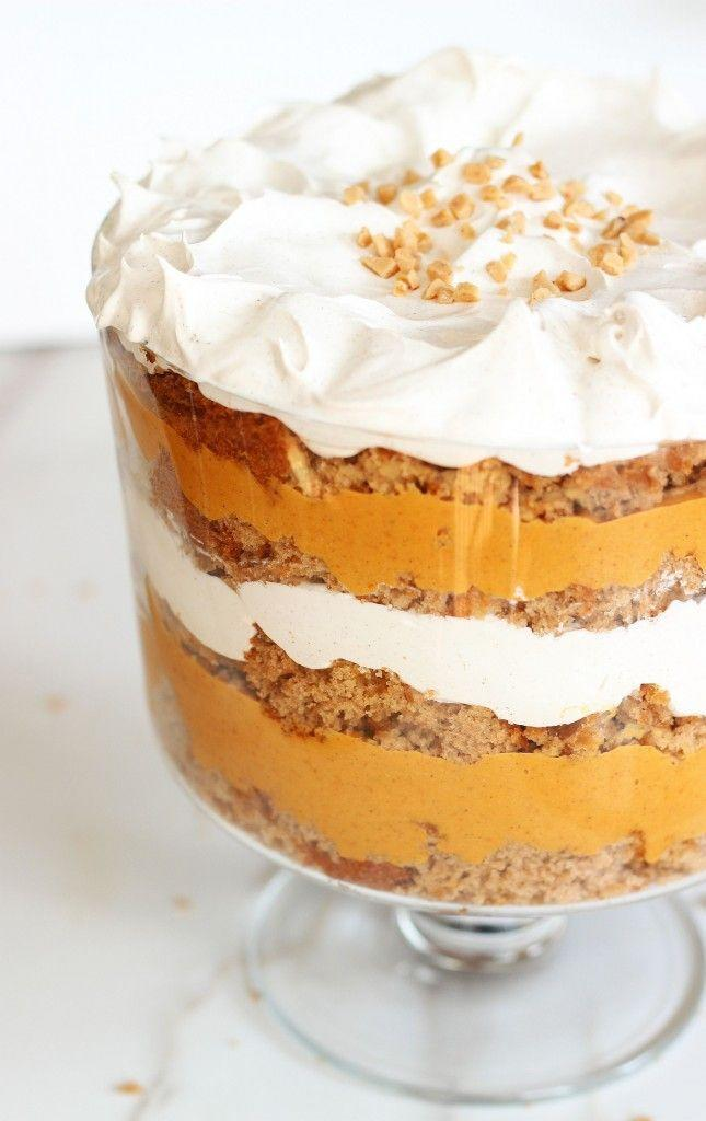 """<p>Mountains of cinnamon-spiced whipped cream tower over layers of pumpkin butterscotch pudding and box spice cake. </p><p><strong>Get the recipe at <a href=""""http://thegoldlininggirl.com/2014/11/pumpkin-trifle-butterscotch-spice-cake/"""" rel=""""nofollow noopener"""" target=""""_blank"""" data-ylk=""""slk:The Gold Lining Girl"""" class=""""link rapid-noclick-resp"""">The Gold Lining Girl</a>.</strong> </p>"""
