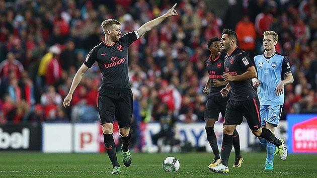 Mertesacker scored Arsenal's opening goal. Pic: Getty