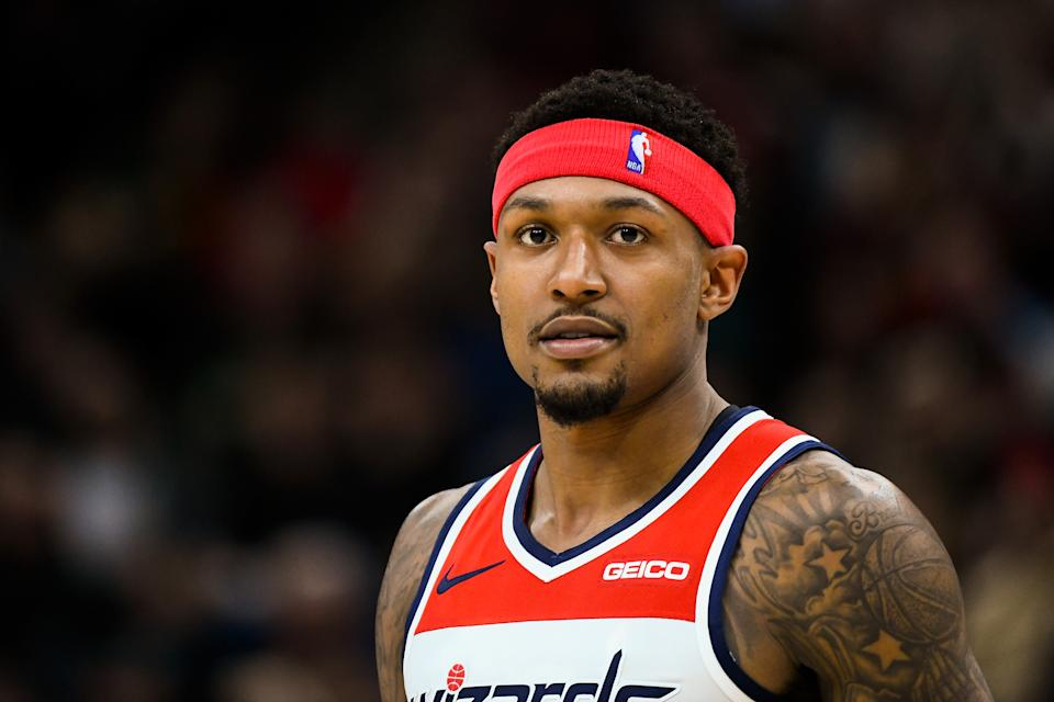 SALT LAKE CITY, UT - MARCH 29:  Bradley Beal #3 of the Washington Wizards looks on during a game against the Utah Jazz at Vivint Smart Home Arena on March 29, 2019 in Salt Lake City, Utah. NOTE TO USER: User expressly acknowledges and agrees that, by downloading and or using this photograph, User is consenting to the terms and conditions of the Getty Images License Agreement.  (Photo by Alex Goodlett/Getty Images)