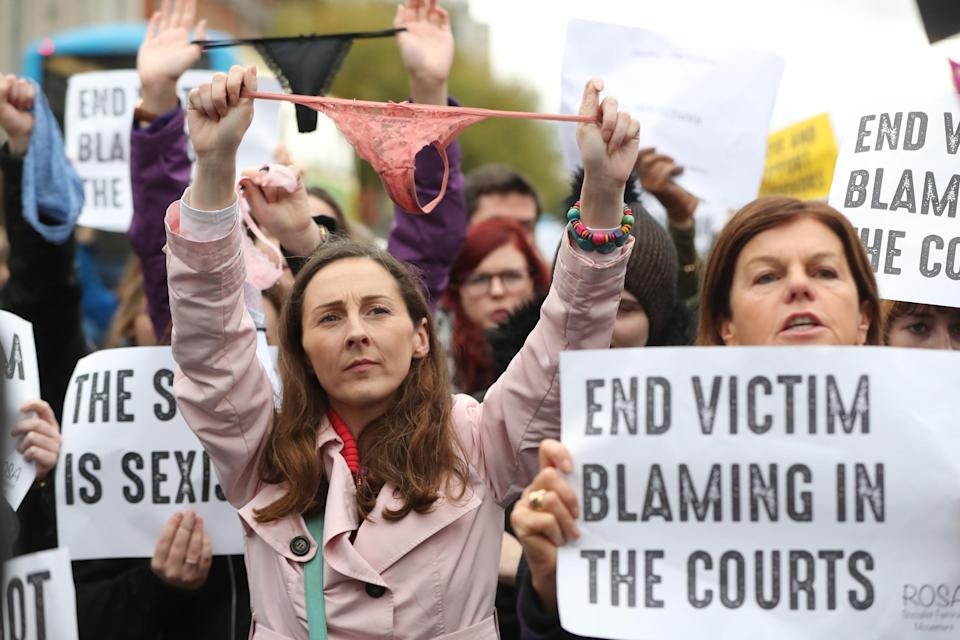 People gather on Nov. 14 for a protest in support of victims of sexual violence in Dublin. (Photo: Niall Carson/PA Wire).
