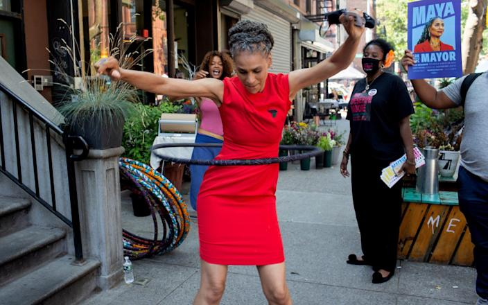 New York City mayoral candidate Maya Wiley hula hoops on the campaign trail - Andrew Lichtenstein/Corbis via Getty Images