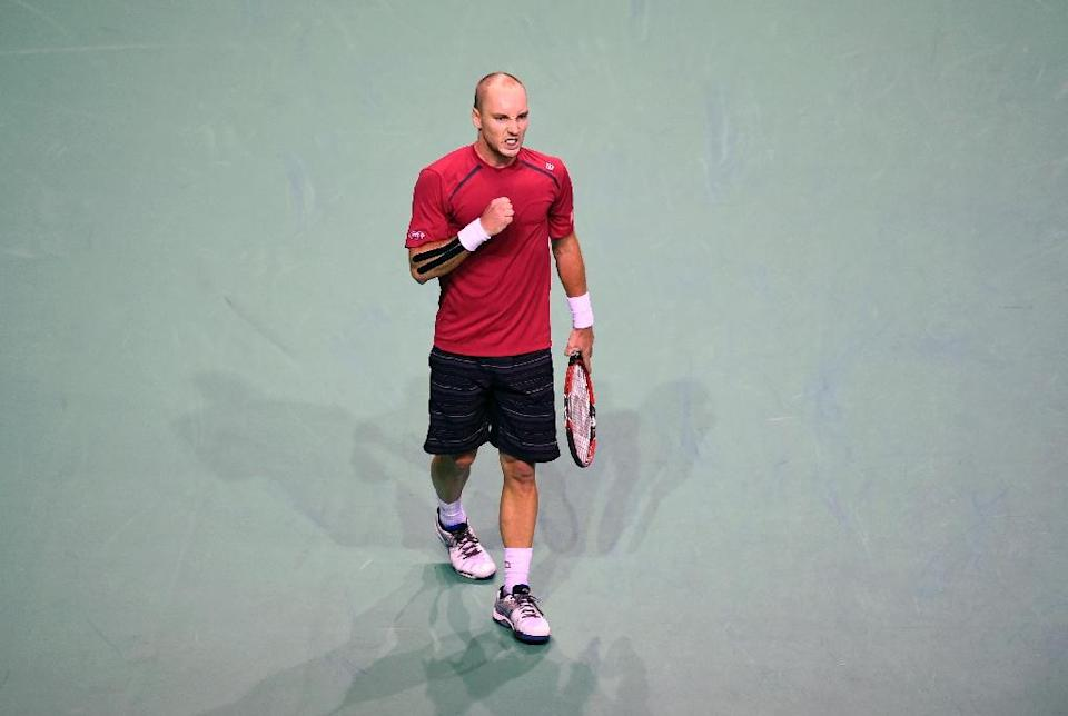 Belgium's Steve Darcis reacts during a Davis Cup semi-final singles match against Argentina's Federico Delbonis at the Forest National Arena on September 20, 2015 (AFP Photo/John Thys)