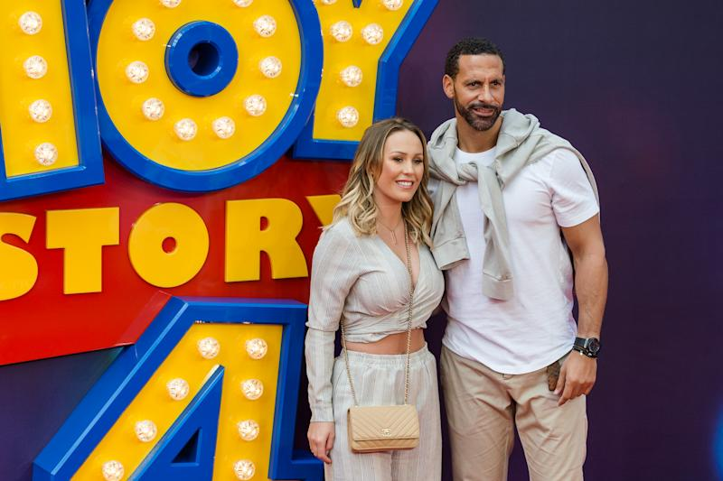 LONDON, UNITED KINGDOM - JUNE 16: Kate Wright and Rio Ferdinand arrive for the European film premiere of 'Toy Story 4' at Odeon Luxe, Leicester Square on 16 June, 2019 in London, England (Photo credit should read Wiktor Szymanowicz / Barcroft Media via Getty Images)