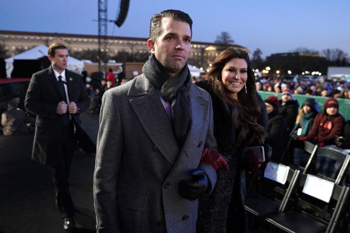 Donald Trump Jr. and Kimberly Guilfoyle arrive at the lighting of the National Christmas Tree at the Ellipse near the White House on Nov. 28, 2018. (Photo: Andrew Harnik/AP)