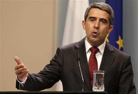 Bulgarian President Rosen Plevneliev speaks during a news conference in Sofia