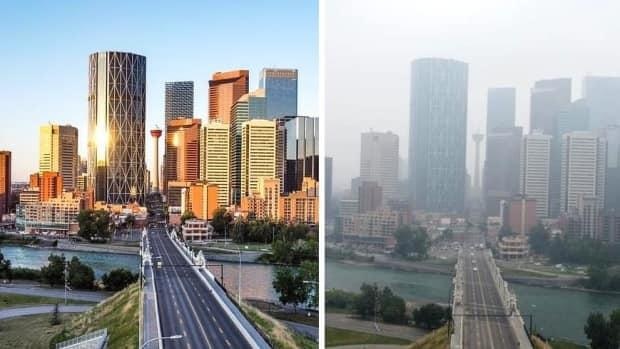 Downtown Calgary on a clear day last week, left, and under a blanket of smoke on Monday, right. (Submitted by Mike MacLean - image credit)