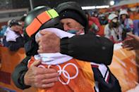 <p>France's Perrine Laffont is congratulated after the women's moguls final event during the Pyeongchang 2018 Winter Olympic Games at the Phoenix Park in Pyeongchang on February 11, 2018. / AFP PHOTO / LOIC VENANCE </p>
