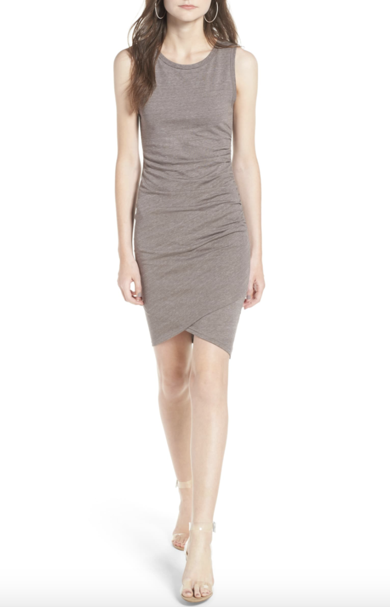 Leith Ruched Body-Con Tank Dress in Tan Dusk Heather