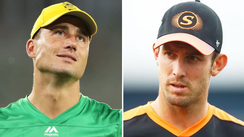 Marcus Stoinis (pictured left) was snubbed from the ODI and T20 squad, while Mitchell Marsh (pictured right) earned a recall. (Getty Images)
