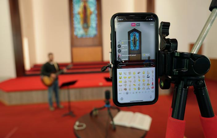 Alamo Heights Baptist Church in San Antonio livestreams its church service during the coronavirus outbreak.