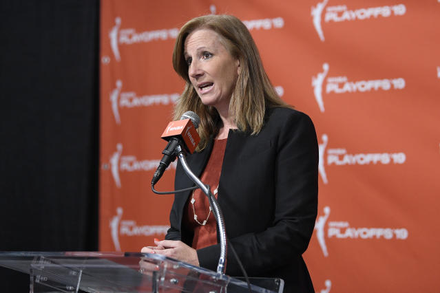 WNBA Commissioner Cathy Engelbert is still hopeful that the league can have a season this summer amid the coronavirus pandemic. (AP/Nick Wass)