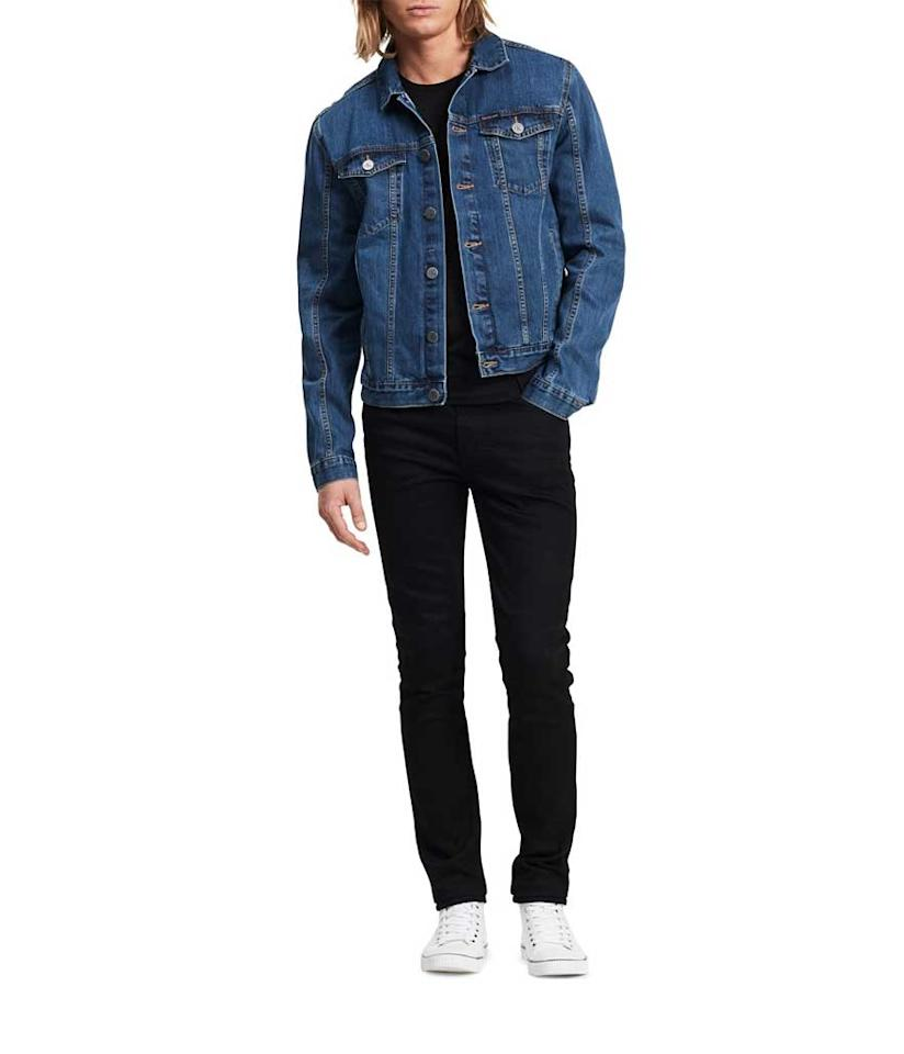 "<p>Men's Denim Trucker Jacket in Medium, $80 + 30% off, <a rel=""nofollow"" href=""https://www.amazon.com/Calvin-Klein-Trucker-Jacket-Medium/dp/B01M5D97RQ/ref=sr_1_4?s=apparel&ie=UTF8&qid=1531257429&sr=1-4&nodeID=7147441011&psd=1&keywords=Calvin+Klein+Men%27s+Denim+Trucker+Jacket+medium"">amazon.com</a> </p>"