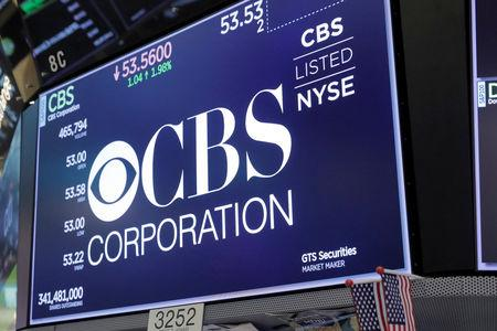 The CBS Corporation logo is displayed on the floor of the New York Stock Exchange shortly after the opening bell in New York