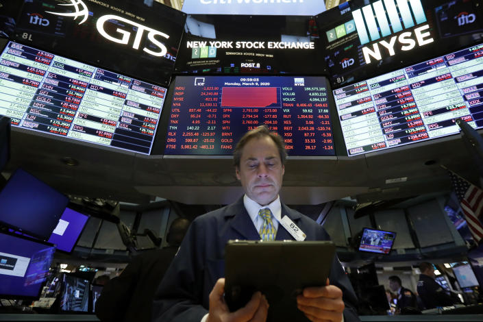 Trader Dudley Devine works on the floor of the New York Stock Exchange, Monday, March 9, 2020. The Dow Jones Industrial Average plummeted 1,500 points, or 6%, following similar drops in Europe after a fight among major crude-producing countries jolted investors already on edge about the widening fallout from the outbreak of the new coronavirus. (AP Photo/Richard Drew)