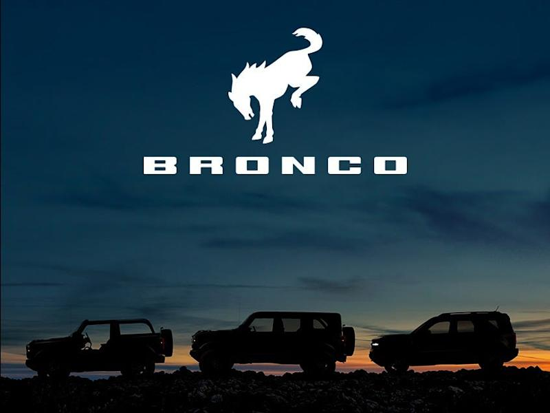 Ford Bronco plans to battle Jeep Wrangler in the off-road category of rugged vehicles. This image provides silhouette images of the 2-door and 4-door Bronco and Bronco Sport.
