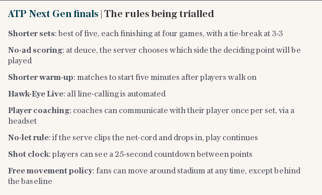 ATP Next Gen finals | The rules being trialled