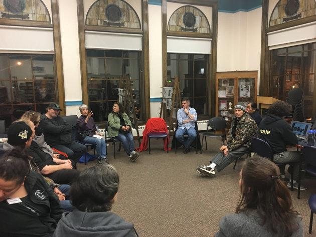 Disrupt holds a community meeting at a library in Thunder Bay, Ont.