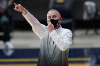 Arizona State coach Bobby Hurley gestures to players during the first half of the team's NCAA college basketball game against California in Berkeley, Calif., Thursday, Dec. 3, 2020. (AP Photo/Jeff Chiu)
