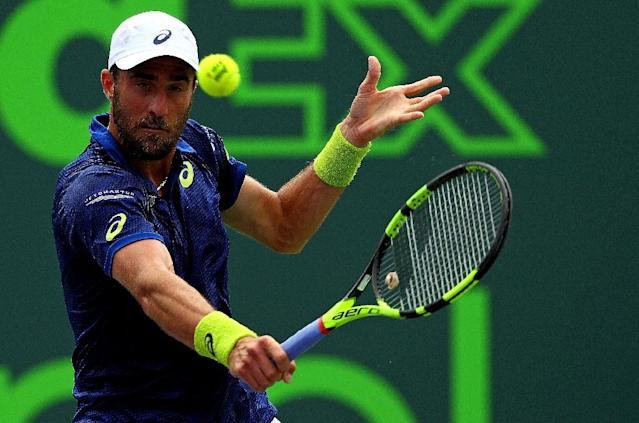 Steve Johnson, pictured in action in March 2016, won his third career ATP title in Houston (AFP Photo/Mike Ehrmann)