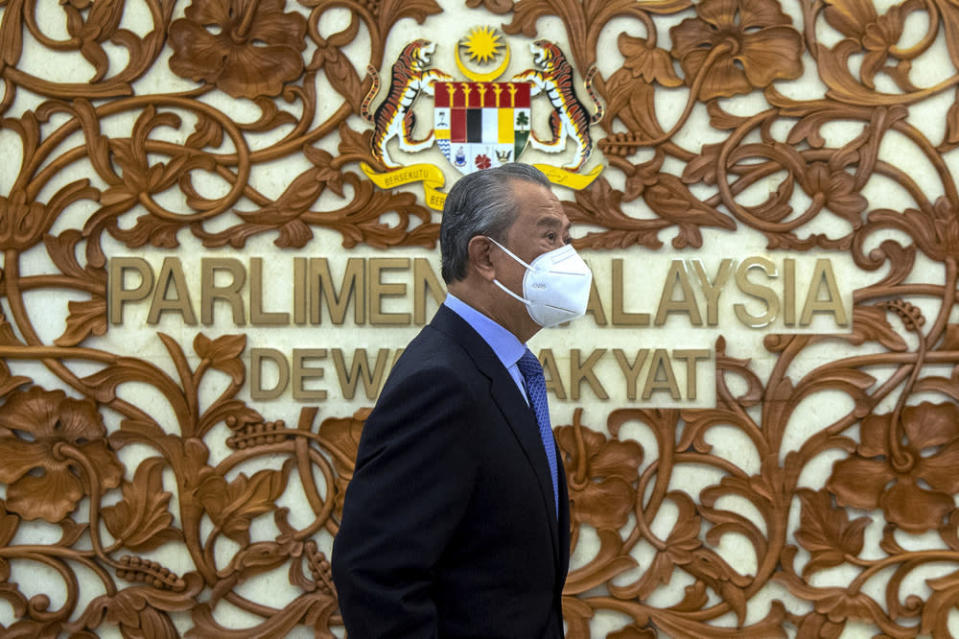 Prime Minister Tan Sri Muhyiddin Yassin attends the second day sitting of the Special Meeting of the Third Session of the 14th Parliament at Parliament in Kuala Lumpur, July 27, 2021. — Bernama pic
