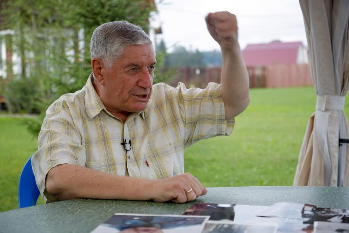 Viktor Alksnis, a Russian politician gestures during his interview with the Associated Press at his country house in Vladimir region, Russia, on Thursday, Aug. 12, 2021. Alksnis, 71, a former hardline members of the Soviet parliament, said the August 1991 hardline coup failed because those who plotted were too indecisive. (AP Photo/Alexander Zemlianichenko Jr)