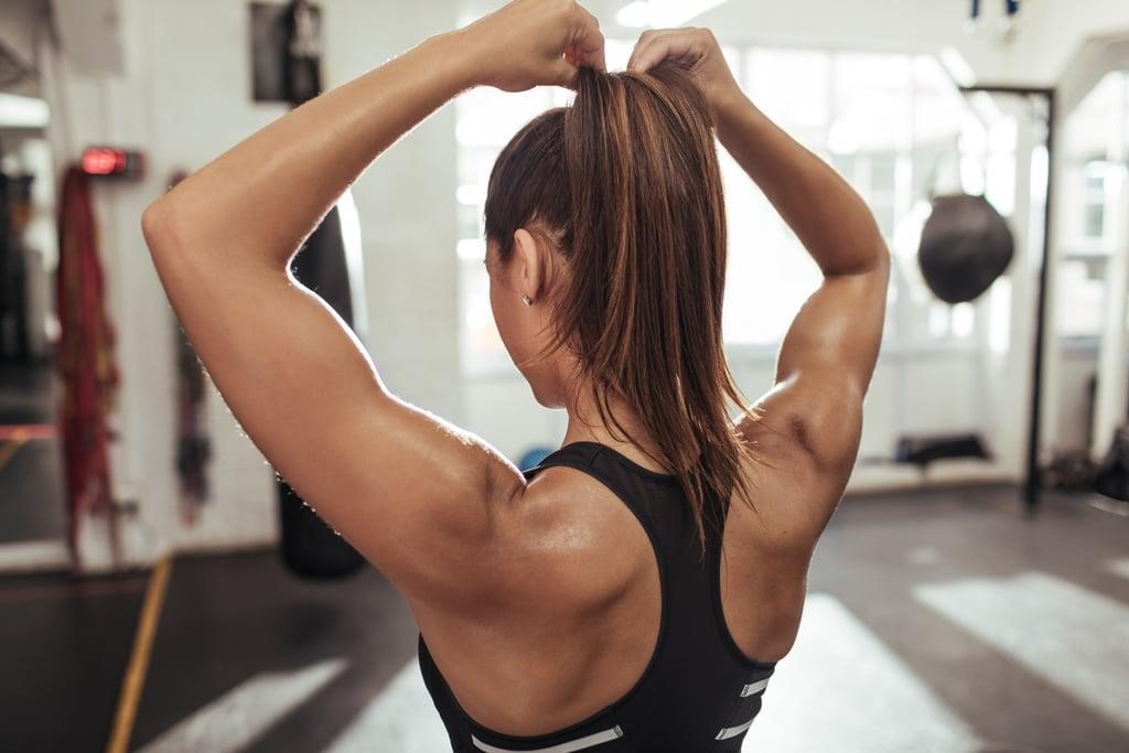 """<p>Grab a pair of dumbbells and get ready for this <a href=""""https://www.popsugar.com/fitness/Upper-Body-Workout-Women-Gym-46073788"""" class=""""ga-track"""" data-ga-category=""""Related"""" data-ga-label=""""https://www.popsugar.com/fitness/Upper-Body-Workout-Women-Gym-46073788"""" data-ga-action=""""In-Line Links"""">upper-body gym workout</a>, which works your arms, shoulders, and back in just six moves. (Here's a guide on <a href=""""https://www.popsugar.com/fitness/How-Choose-Right-Weight-45658061"""" class=""""ga-track"""" data-ga-category=""""Related"""" data-ga-label=""""https://www.popsugar.com/fitness/How-Choose-Right-Weight-45658061"""" data-ga-action=""""In-Line Links"""">choosing the right weights</a>.)</p>"""