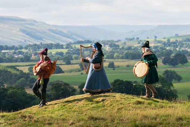 Members of medieval group Maranella in the grounds of Castle Bolton