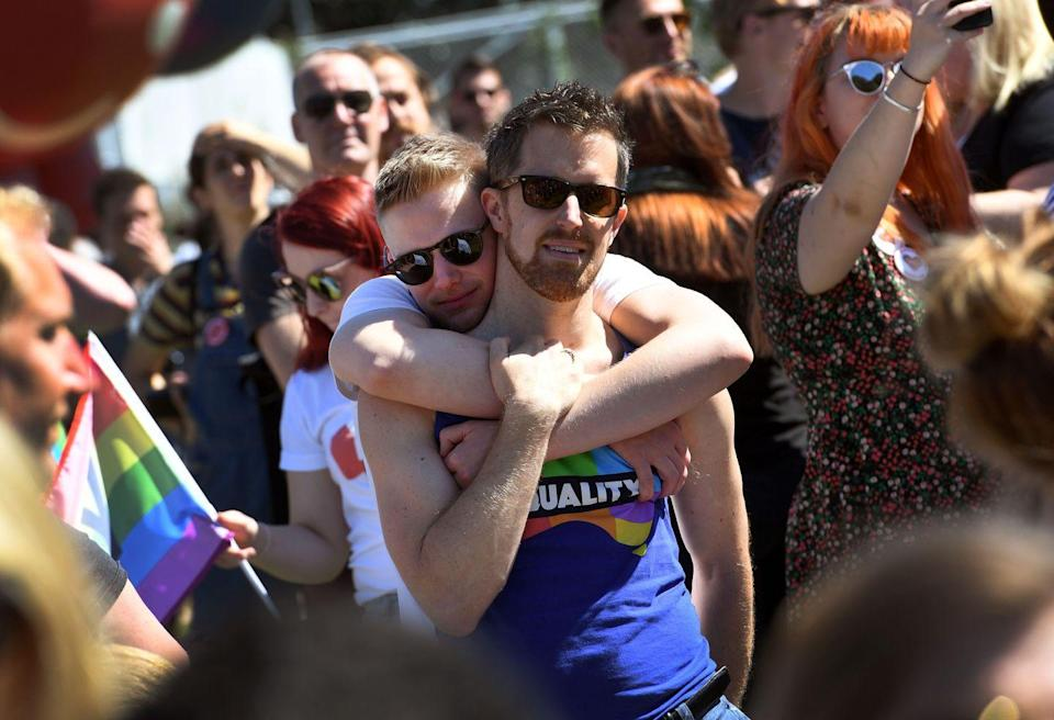 <p>Hugging is universal and this couple knows it as they celebrate pride in Australia. <br></p>