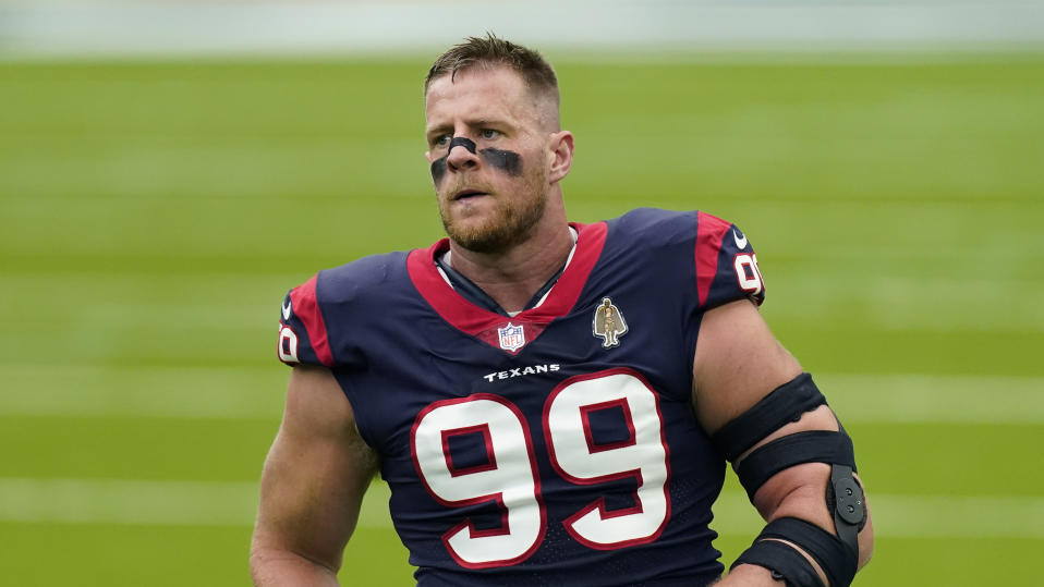 Houston Texans defensive end J.J. Watt (99) during an NFL football game against the Minnesota Vikings, Sunday, Oct. 4, 2020, in Houston. (AP Photo/David J. Phillip)