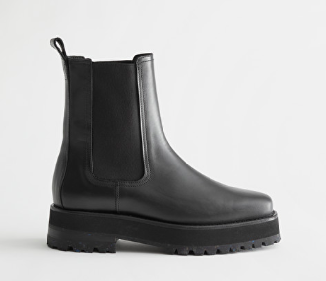 & Other Stories Squared ToeLeather Chelsea Boots