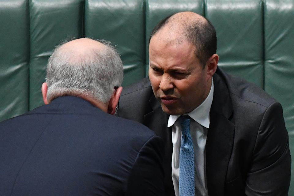 CANBERRA, AUSTRALIA - JUNE 18: Prime Minister Scott Morrison and Treasurer Josh Frydenberg during Question Time in the House of Representatives at Parliament House, on June 18, 2020 in Canberra, Australia. The Australian Bureau of Statistics has released the Labour force figures in Australia for May 2020. Australia's unemployment rate jumped to 7.1 percent in May from 6.4 percent in April, with the Bureau of Statistics estimating a further 227,700 jobs were lost last month.  (Photo by Sam Mooy/Getty Images)