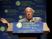 FILE - In this Nov. 15, 2010 file photo, former Secretary of State George Shultz speaks at University of California Davis during the Governors' Global Climate Summit 3: Building the Green Economy, in Sacramento, Calif. Shultz, former President Ronald Reagan's longtime secretary of state, who spent most of the 1980s trying to improve relations with the Soviet Union and forging a course for peace in the Middle East, died Saturday, Feb. 6, 2021. He was 100. (Hector Amezcua/The Sacramento Bee via AP, File)