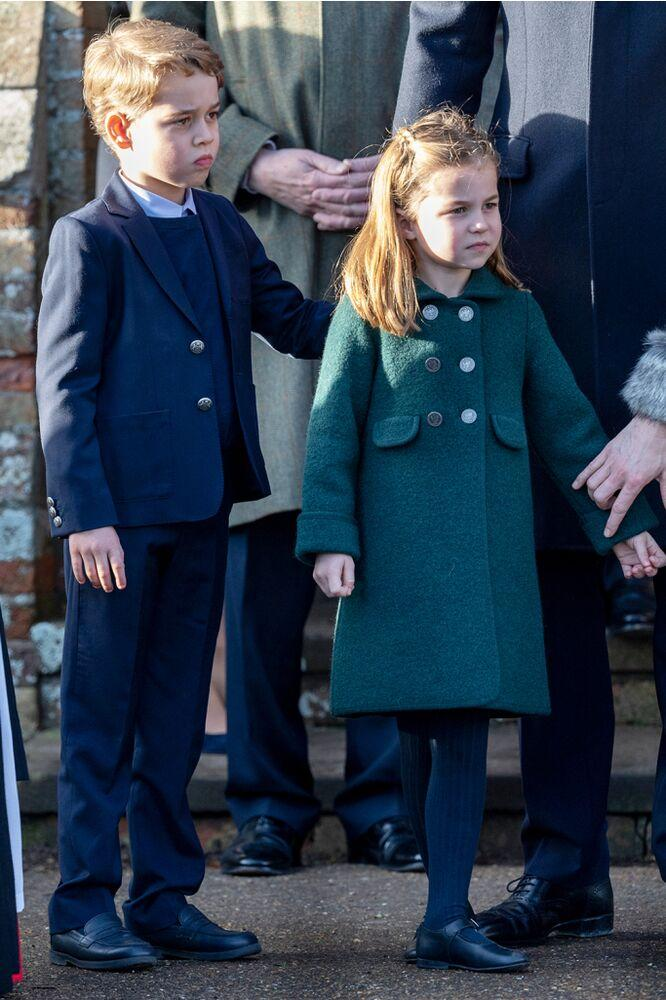 Prince George and Princess Charlotte on Dec. 25 | Mark Cuthbert/UK Press via Getty