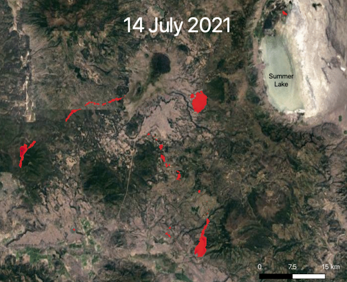 By the 14th of July, the Bootleg Fire had shifted in different directions (NASA)