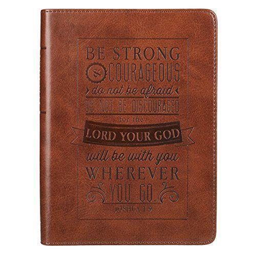 """<p><strong>Christian Art Gifts Inc</strong></p><p>amazon.com</p><p><strong>$9.09</strong></p><p><a href=""""https://www.amazon.com/dp/1432115464?tag=syn-yahoo-20&ascsubtag=%5Bartid%7C10070.g.971%5Bsrc%7Cyahoo-us"""" rel=""""nofollow noopener"""" target=""""_blank"""" data-ylk=""""slk:SHOP NOW"""" class=""""link rapid-noclick-resp"""">SHOP NOW</a></p><p>Embossed and engraved with Joshua 1:9, this leather journal is a gorgeous choice for those in your inner circle who like a little spirituality in their everyday life. Whenever they go to write in it, they'll think of you!</p>"""