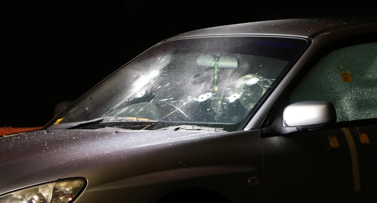 <p>The vehicle at the 'crime scene' which was used during the Shooting Reconstruction Workshop. Photo: Hannah Teoh/Yahoo News Singapore </p>