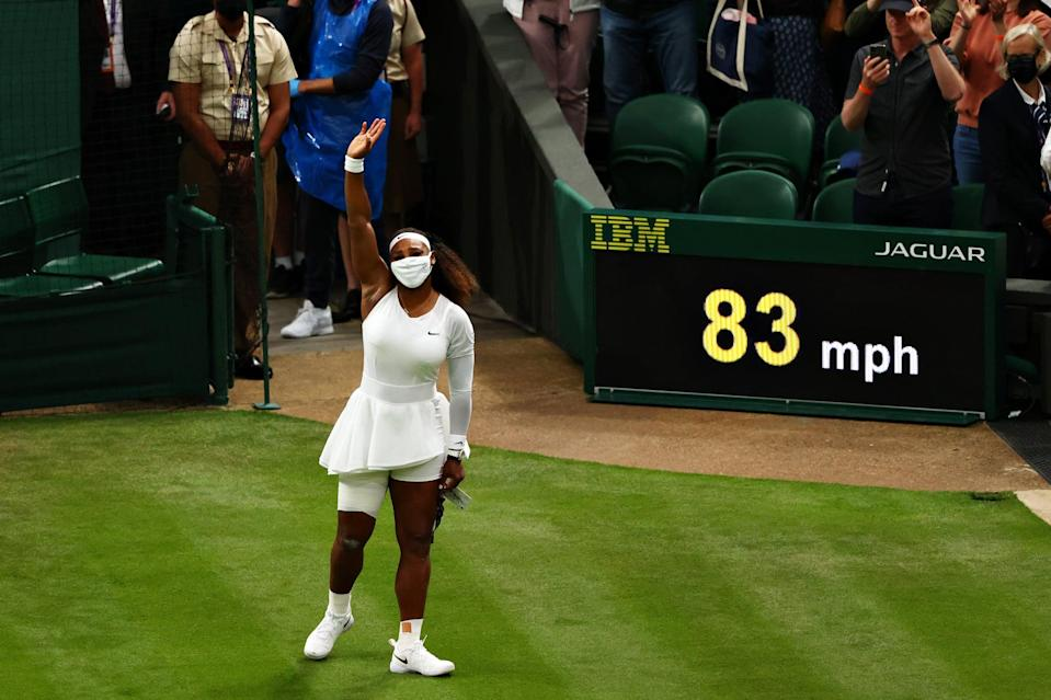 LONDON, ENGLAND - JUNE 29: Serena Williams of The United States waves to the fans as she leaves the court after retiring from the match with an injury in her Ladies' Singles First Round match against Aliaksandra Sasnovich of Belarus during Day Two of The Championships - Wimbledon 2021 at All England Lawn Tennis and Croquet Club on June 29, 2021 in London, England. (Photo by Julian Finney/Getty Images)