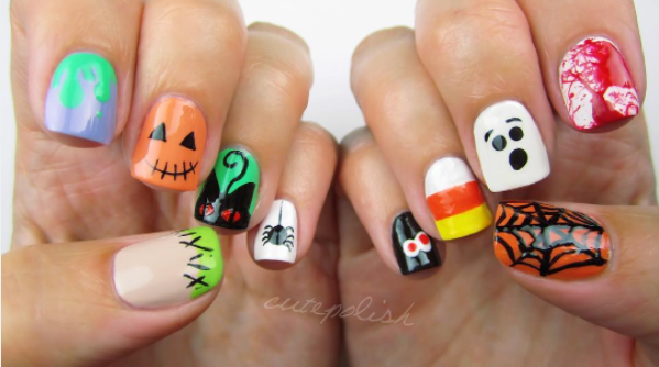 """<p><a rel=""""nofollow"""" href=""""https://www.instagram.com/p/BLZVWrNh-Rm/?taken-by=cutepolish"""">@CUTEPOLISH</a> — Can't make up your mind on a nail design to try this Halloween? This kind of nail swag will allow you to have it all and more. </p>"""