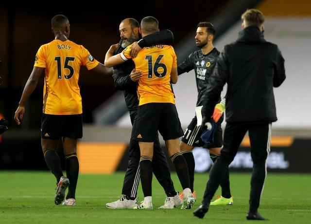 Willy Boly, Nuno Espirito Santo, Conor Coady and Rui Patricio, left to right