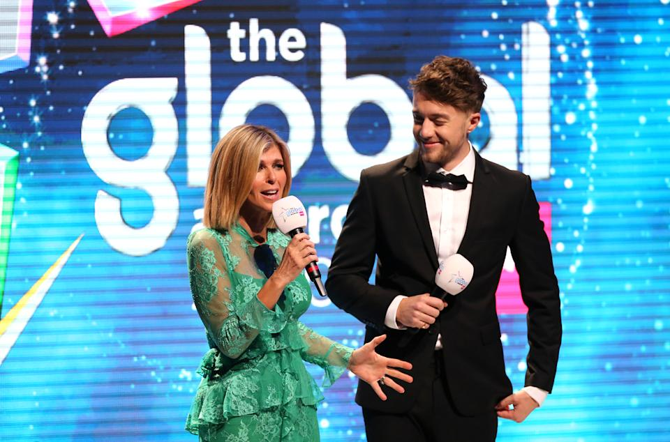 Hosts Kate Garraway (left) and Roman Kemp on stage at the Global Awards 2020 with Very.co.uk at London's Eventim Apollo Hammersmith. (Photo by Isabel Infantes/PA Images via Getty Images)