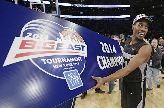 Providence's Bryce Cotton celebrates after Providence's NCAA college basketball game against Creighton in the final of the Big East Conference men's tournament Saturday, March 15, 2014, at Madison Square Garden in New York. Providence won 65-58. (AP Photo/Frank Franklin II)