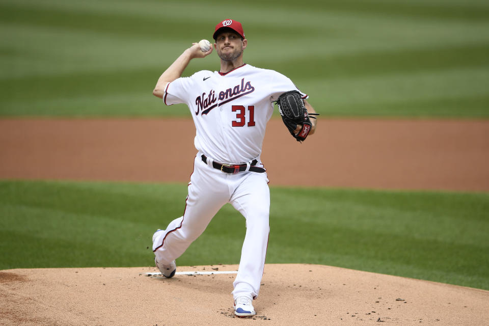 Washington Nationals starting pitcher Max Scherzer delivers during the first inning of a baseball game against the San Diego Padres, Sunday, July 18, 2021, in Washington. (AP Photo/Nick Wass)
