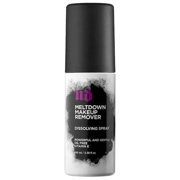 "<p>Spritz a cotton round with this top-rated <span>Urban Decay Meltdown Makeup Remover Dissolving Spray</span> ($26), and marvel at the amount of makeup left on the swab. Of course, it removes long-lasting products like this brand's <a href=""https://www.popsugar.com/beauty/photo-gallery/47153458/image/47165450/Urban-Decay-Vice-Lipstick"" class=""link rapid-noclick-resp"" rel=""nofollow noopener"" target=""_blank"" data-ylk=""slk:liquid lipstick"">liquid lipstick</a> and <a href=""https://www.popsugar.com/beauty/photo-gallery/47185034/image/47185150/Urban-Decay-247-Glide-On-Eye-Pencil-in-Roxy"" class=""link rapid-noclick-resp"" rel=""nofollow noopener"" target=""_blank"" data-ylk=""slk:24/7 pencil"">24/7 pencil</a>, plus other waterproof or stubborn ones, too.</p>"