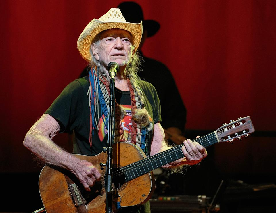 "In this photo taken on December 30, 2018, country music legend Willie Nelson performs during the ""Willie Nelson & Family New Year"" concert at Austin City Limits Live in Austin, Texas."