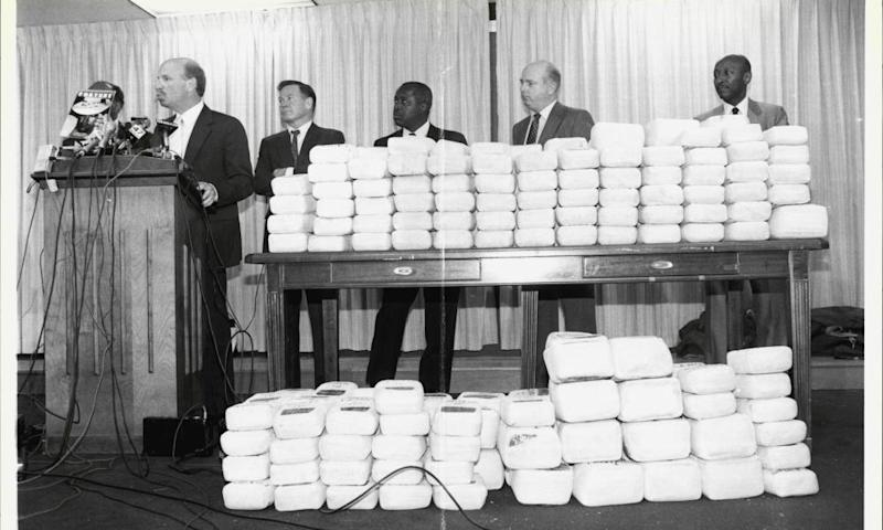 Drug Enforcement Agency chief Bob Stutman with drugs shipped to the US by the Medellin cartel.