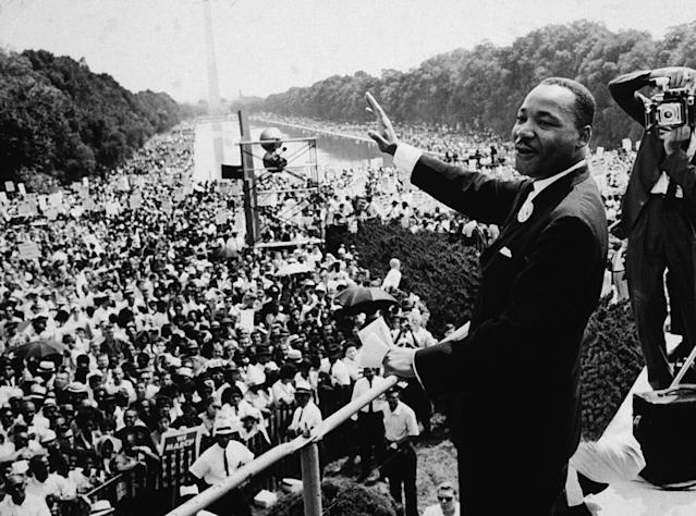 Martin Luther King Jr. addresses a crowd at the March on Washington on Aug. 28,1963. (Photo: CNP/Getty Images)