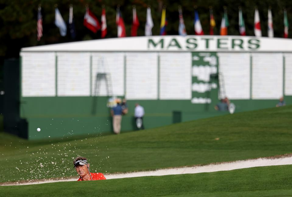 AUGUSTA, GEORGIA - NOVEMBER 13:  Bernhard Langer of Germany plays a shot from a bunker on the ninth hole during the continuation of the first round of the Masters at Augusta National Golf Club on November 13, 2020 in Augusta, Georgia. (Photo by Rob Carr/Getty Images)