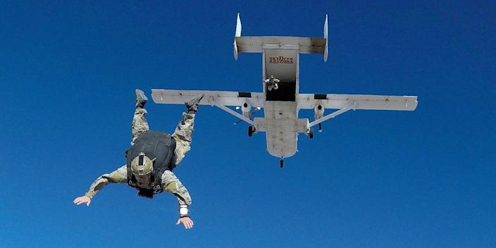 Sailors during military free fall training